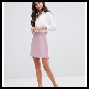 ASOS A-Line Mini Skirt with Scalloped Hem